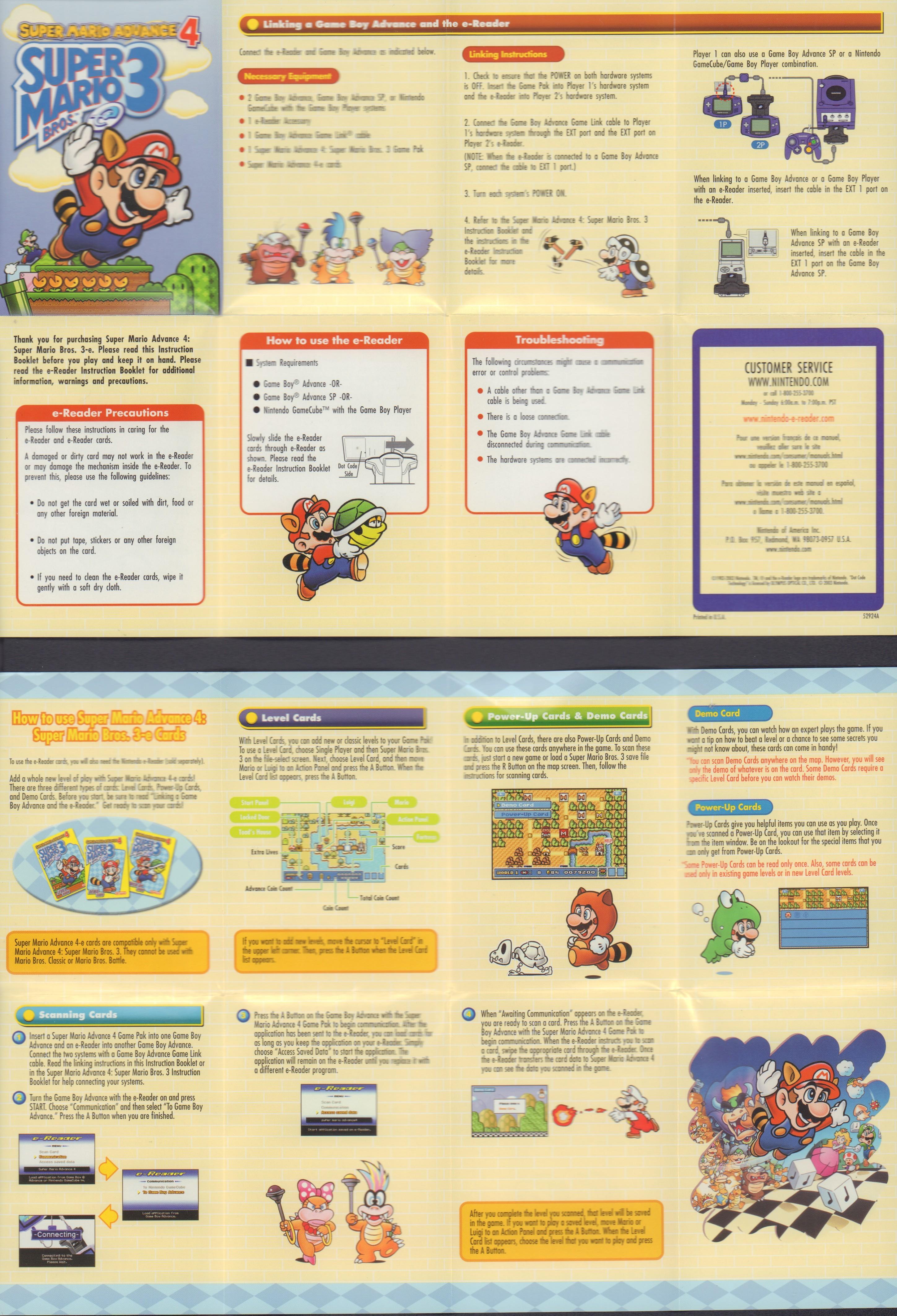 super mario advance 4 super mario bros 3 e reader cards digital rh digitalgamemuseum org 1985 Super Mario Comics Super Mario World Booklet